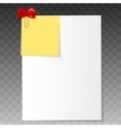 Realistic a4 paper with clipped reminder vector image