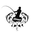 fisherman with a fishing rod concept vector image vector image