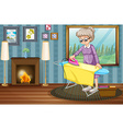 Old lady ironing clothes in the house vector image