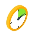 Yellow clock isometric 3d icon vector image