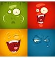 Cute cartoon emotions fear disgust laugh vector image