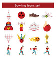 bowling icon set in flat style vector image