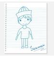 boy on a notebook sheet vector image