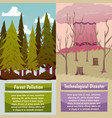man-made disasters orthogonal banners vector image