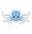 purple octopus sea life cut line vector image