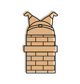 santa claus stuck in the chimney on the roof vector image