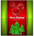 christmas red balls green tree color background vector image vector image
