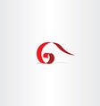 letter g 6 icon red logo symbol sign vector image
