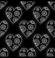 white boho ornamental hearts on black background vector image