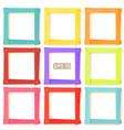 9 wooden picture frames color set vector image