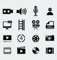 set of sixteen cinema icons vector image