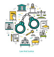 law and justice - round line concept vector image