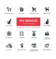 Pet services - modern simple thin line design vector image