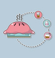 sweet donut with delicious coffee icons vector image