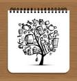 notebook design kitchen utensils tree vector image vector image