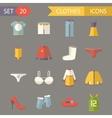 Retro Clothesl Symbols Accessories Icons Set vector image