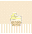 beige background with cupcake vector image vector image