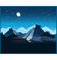 Mayan pyramids at night vector image