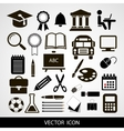 Black icons set of education on a gray vector image