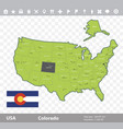 colorado flag and map vector image