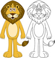 Cute Humanoid Lion With Lineart vector image