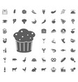 food and drinks icon set vector image