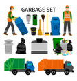 garbage trucks trash can and sweeper vector image