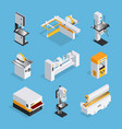 Modern woodworking machinery isometric set vector image