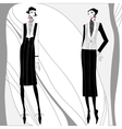 romantic art deco women in coats vector image