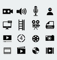 set of sixteen cinema icons vector image