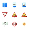 Sign on road icons set cartoon style vector image