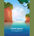 summer sea landscape mountain rocks blue water vector image