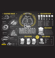vintage chalk drawing beer menu design vector image