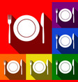 fork knife and plate sign  set of icons vector image