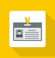 identification card icon flat style vector image