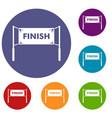 finish line gates icons set vector image