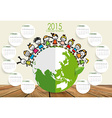 2015 calendar Cute children on Green Eco Earth vector image