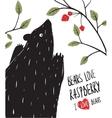 Wild Black Bear Loves Raspberry vector image vector image