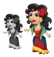 Gypsy woman in bright clothes and accessories vector image
