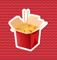 sticker of noodles wok in paper box on red vector image