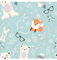 Seamless Merry Christmas pattern with cute animals vector image