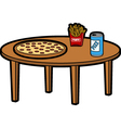 Pizza on a table vector image vector image