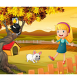 A girl with a dog and bird vector image vector image