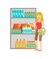 Girl Shopping For Drinks Shopping Mall And vector image