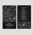 italian pasta restaurant menu hand drawn vector image