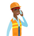 young african builder talking on a mobile phone vector image vector image