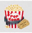 popcorn in cardboard box with tickets cinema vector image