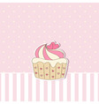 pink background with cupcake vector image vector image