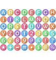 Alphabet Numbers Symbols Flat Round Icons vector image
