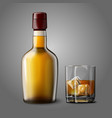 Blank realistic bottle with glass of whiskey and vector image